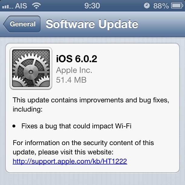 Apple ปล่อย iOS 6.0.2 แก้บั๊ก Wi-Fi ที่เกิดขึ้นบน iPhone 5 และ iPad mini แล้ว