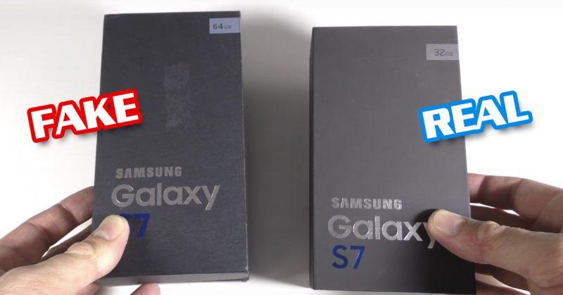 Galaxy S7 ปลอม แปะไว้ที่กล่องว่าความจุ 64GB (เค้ามีแค่ 32GB เองนะของแท้)