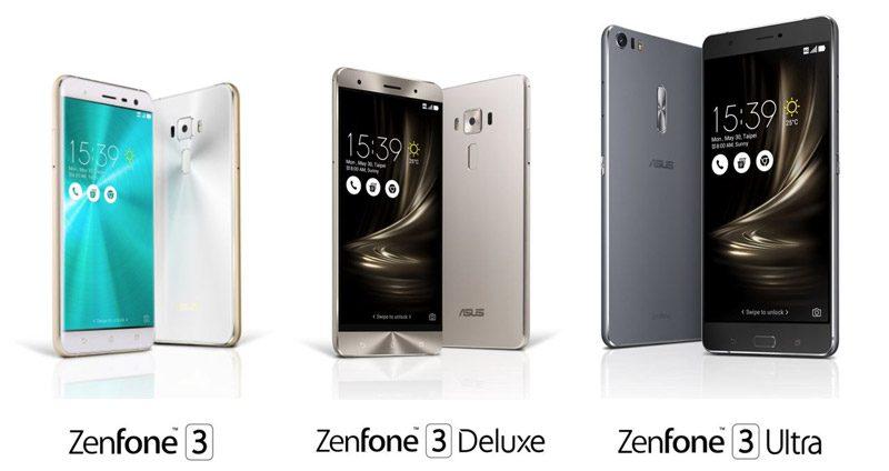 Asus Zenfone 3, Zenfone 3 Deluxe, Zenfone 3 Ultra
