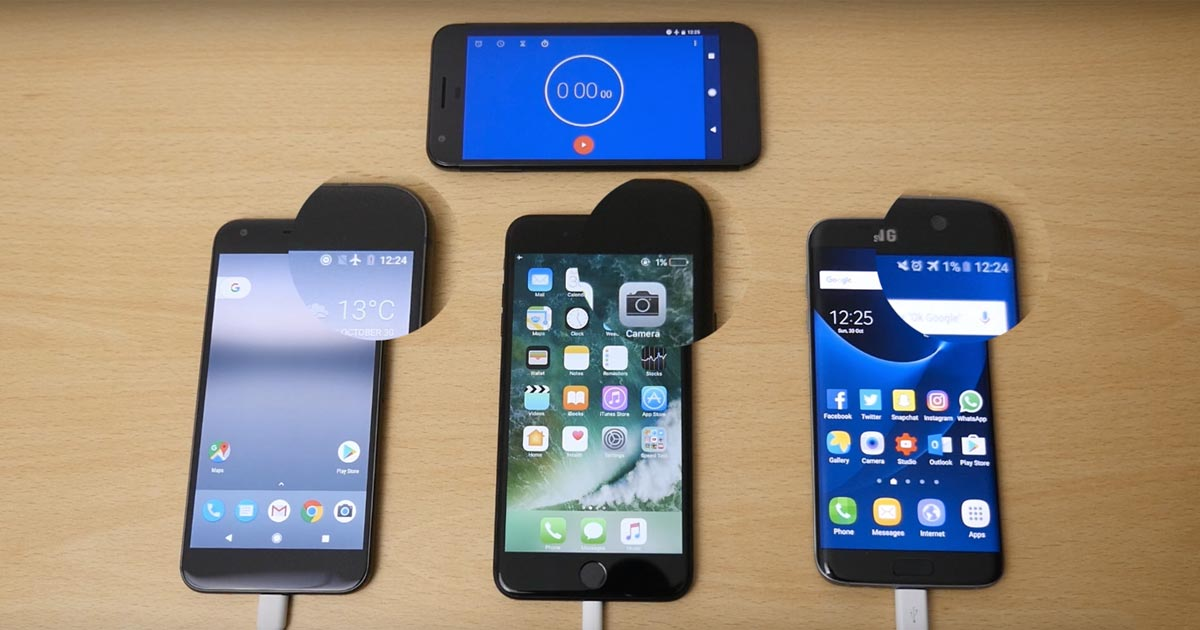 Google Pixel XL, Apple iPhone 7 Plus และ Samsung Galaxy S7