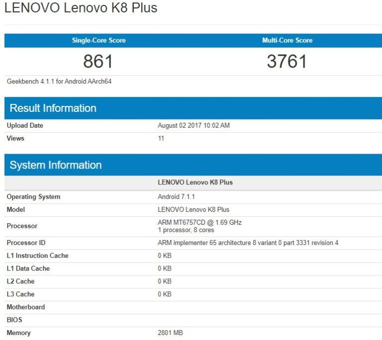 Lenovo K8 Plus Spec