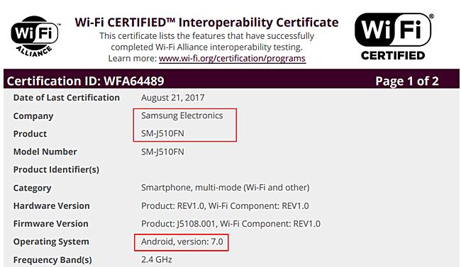 Wifi Alliance Samsung Galaxy J5 (2016)