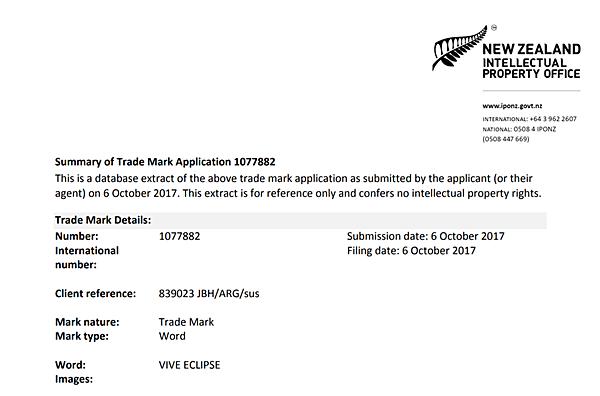 HTC Vive Eclipse NZ Trademark