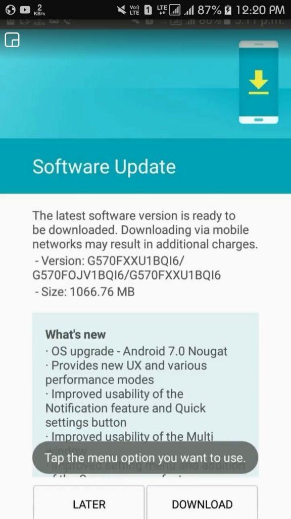 Samsung Galaxy J5 Prime Update