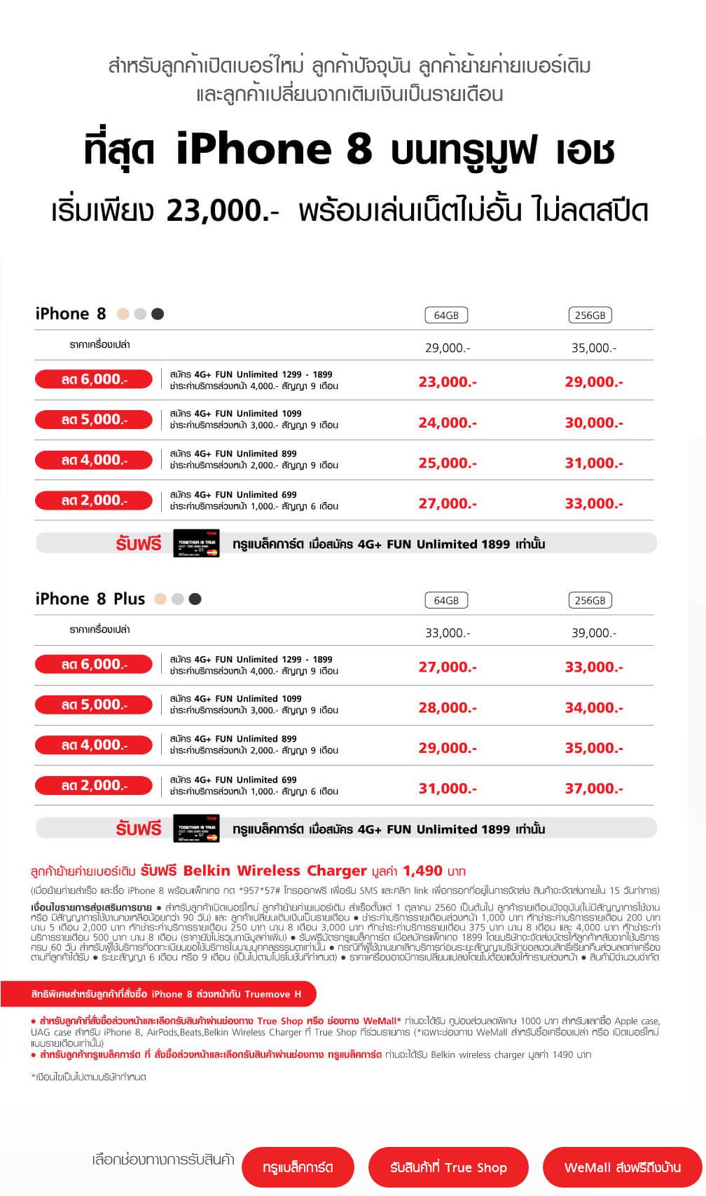 โปรโมชั่น iPhone 8 Truemove