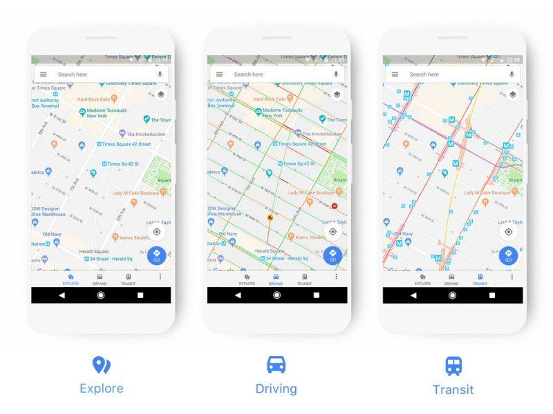 Google Maps Redesign Mode