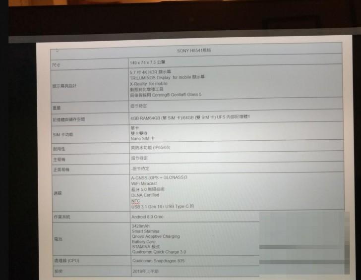 Sony H8541 Spec