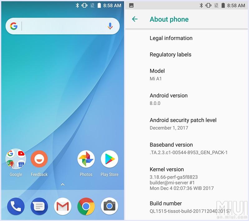 Xiaomi Mi A1 Oreo Beta