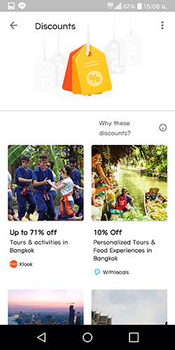 UX UI Google trips Discount