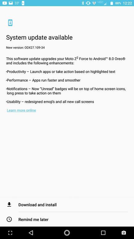 Moto Z2 Force Android 8.0 Oreo OTA
