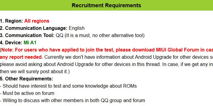 Xiaomi Mi A1 oreo beta requirement