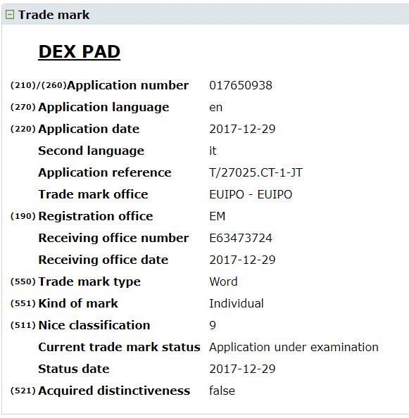 DeX Pad trademark