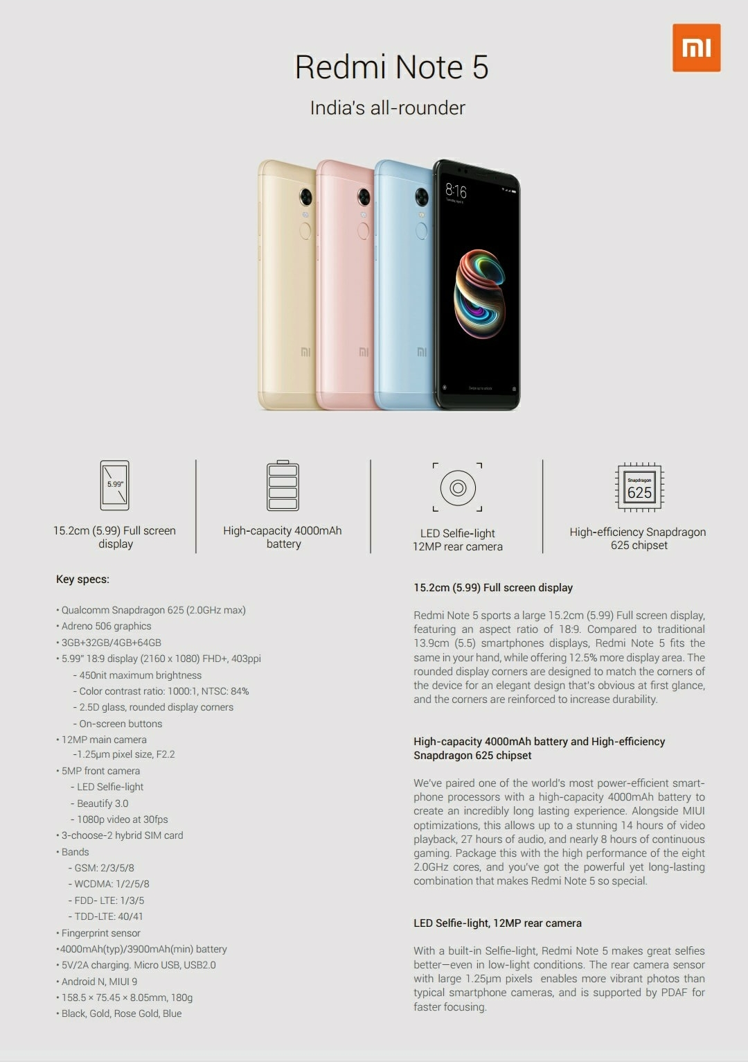 Xiaomi Redmi Note 5 spec