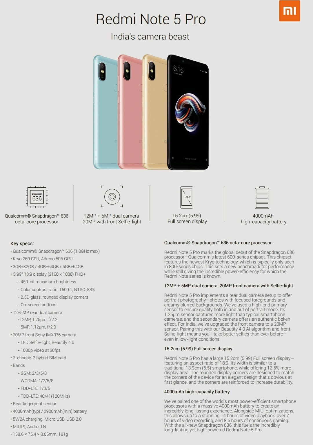 Xiaomi Redmi Note 5 Pro spec