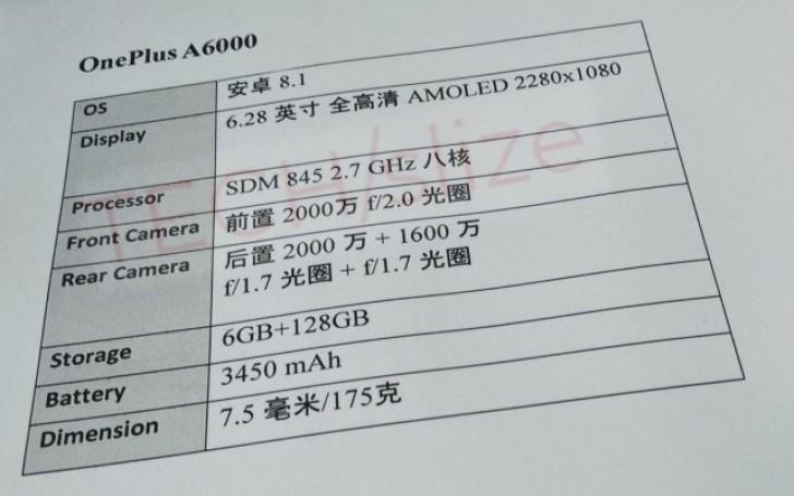 OnePlus 6 Spec sheet Leak
