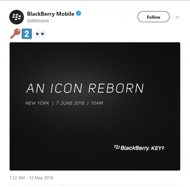 BlackBerry Mobile Tweet BlackBerry KEYtwo