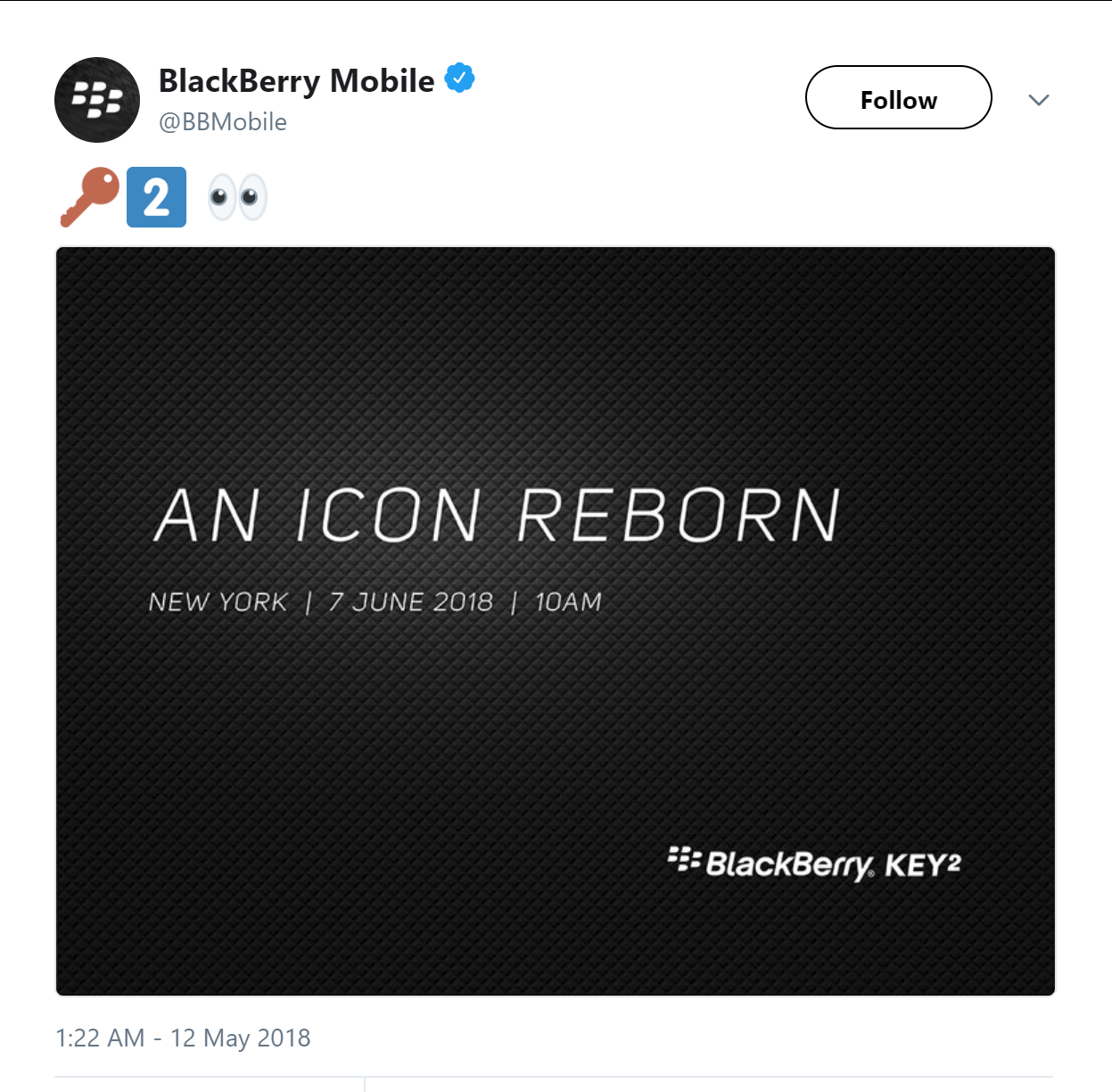 BlackBerry Mobile Tweet Key2