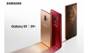 Samsung Galaxy S9+ in Sunrise Gold and Galaxy S9 in Burgundy Red