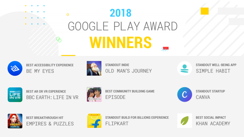 google play award best apps and games 2018