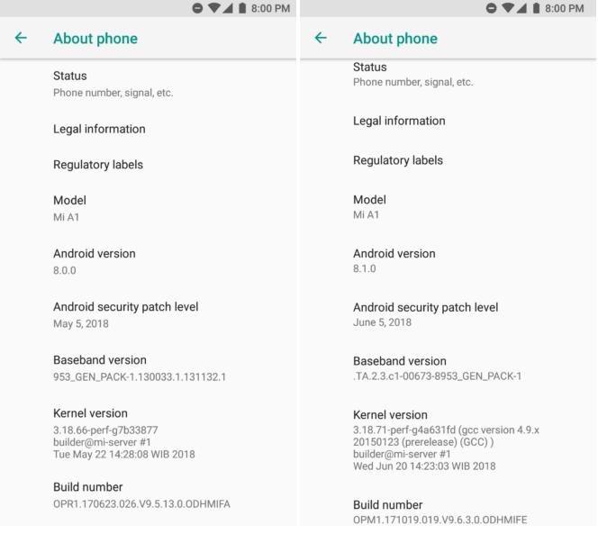 Xiaomi Mi A1 Changelog