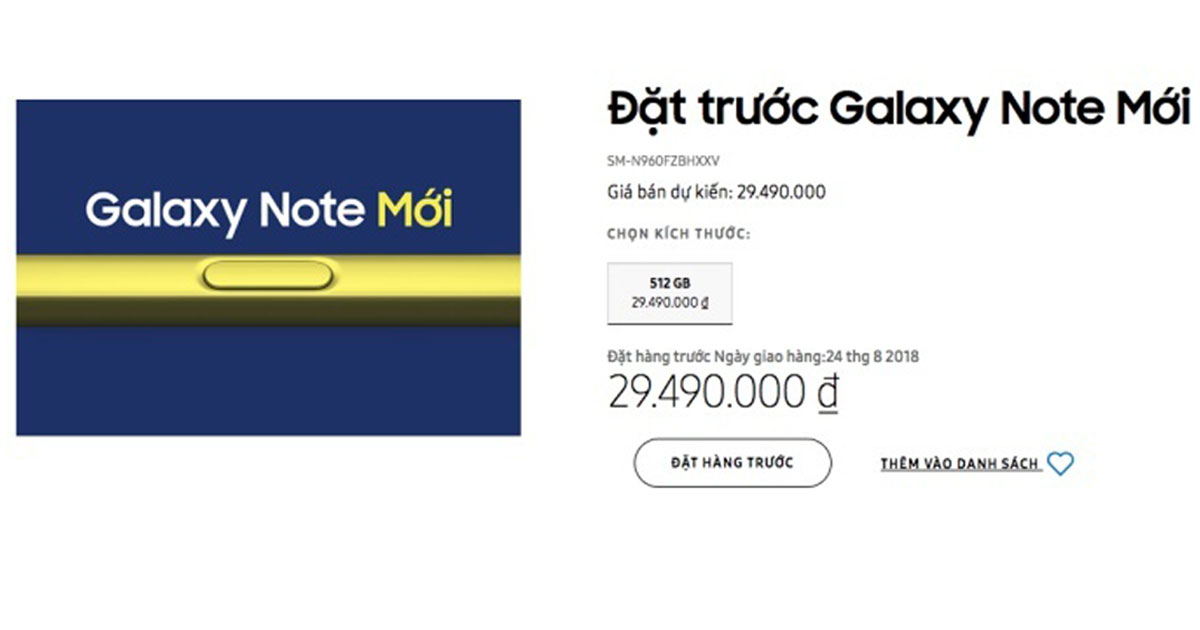 Samsung Galaxy Note 9 Vietnam