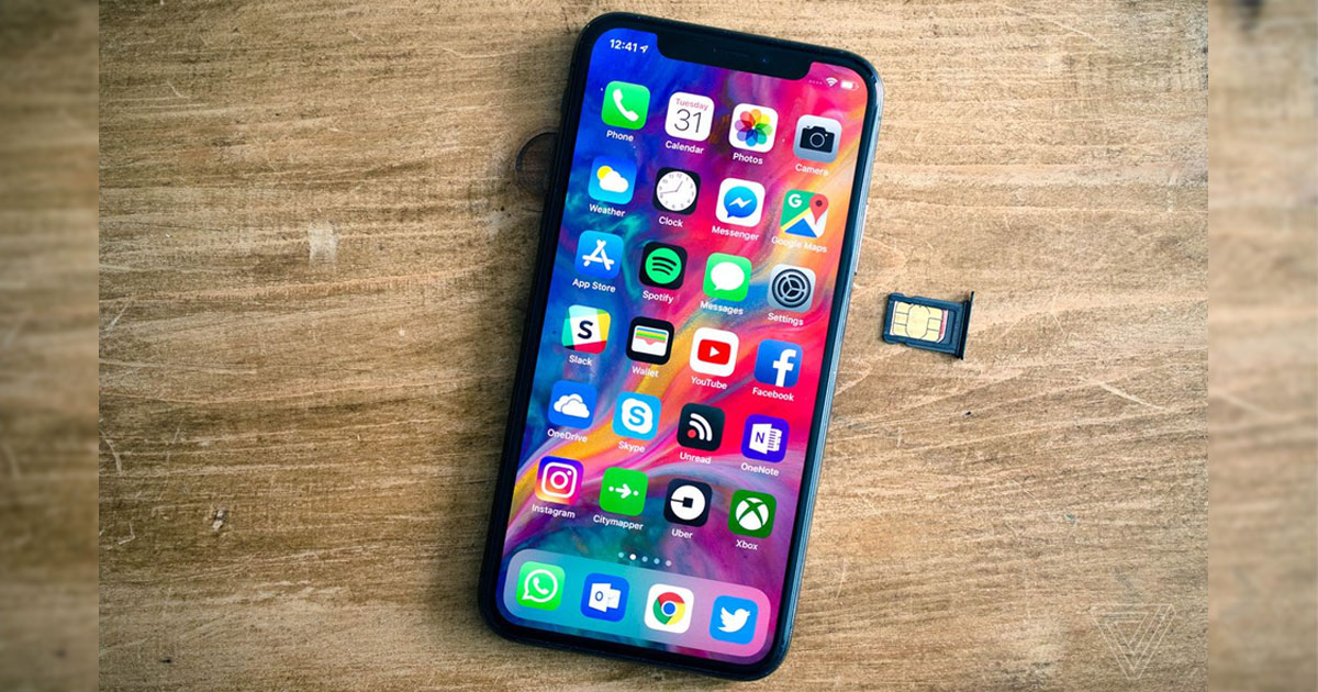 iPhone X with SIM tray