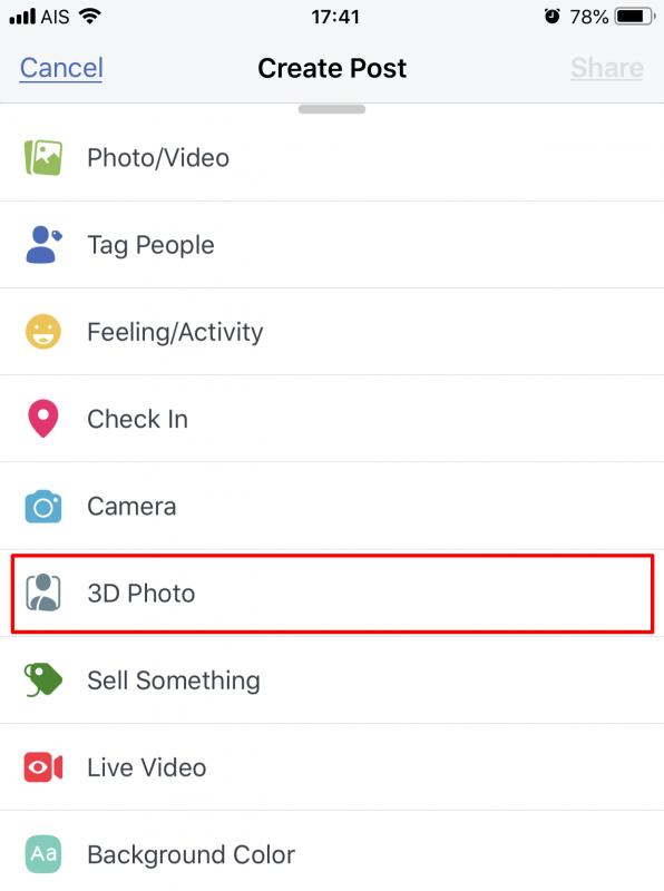 3D Photo on Facebook App iOS