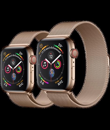 Apple Watch ตัวเรือนสแตนเลสสตีล สีทอง พร้อมสายแบบ Milanese Loop สีทอง