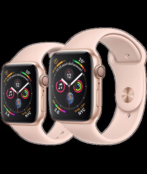 Apple Watch ตัวเรือนอะลูมิเนียม สีทอง พร้อมสายแบบ Sport Band สีชมพูพิงค์แซนด์