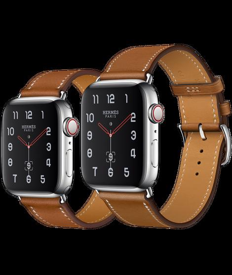 Apple Watch Hermès ตัวเรือนสแตนเลสสตีล พร้อมสายหนัง Barénia แบบ Simple Tour สี Fauve