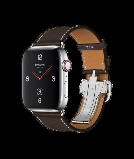 Apple Watch Hermès ตัวเรือนสแตนเลสสตีล พร้อมสายหนัง Barénia แบบ Simple Tour Boucle Déployante สี Ébène