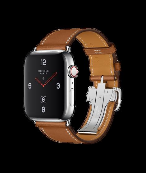 Apple Watch Hermès ตัวเรือนสแตนเลสสตีล พร้อมสายหนัง Barénia แบบ Simple Tour Boucle Déployante สี Fauve