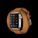 Apple Watch Hermès ตัวเรือนสแตนเลสสตีล พร้อมสายหนัง Barenia แบบ Double Tour สี Fauve