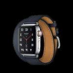 Apple Watch Hermès ตัวเรือนสแตนเลสสตีล พร้อมสายหนัง Swift แบบ Double Tour สี Bleu Indigo