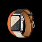 Apple Watch Hermès ตัวเรือนสแตนเลสสตีล พร้อมสายหนัง Swift แบบ Double Tour สี Indigo Orange
