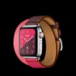 Apple Watch Hermès ตัวเรือนสแตนเลสสตีล พร้อมสายหนัง Swift แบบ Double Tour สี Rose Extrême