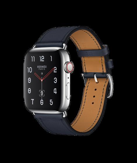 Apple Watch Hermès ตัวเรือนสแตนเลสสตีล พร้อมสายหนัง Swift แบบ Simple Tour สี Bleu Indigo