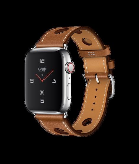 Apple Watch Hermès สายหนัง Barénia Grainé แบบ Simple Tour Rallye สี Fauve