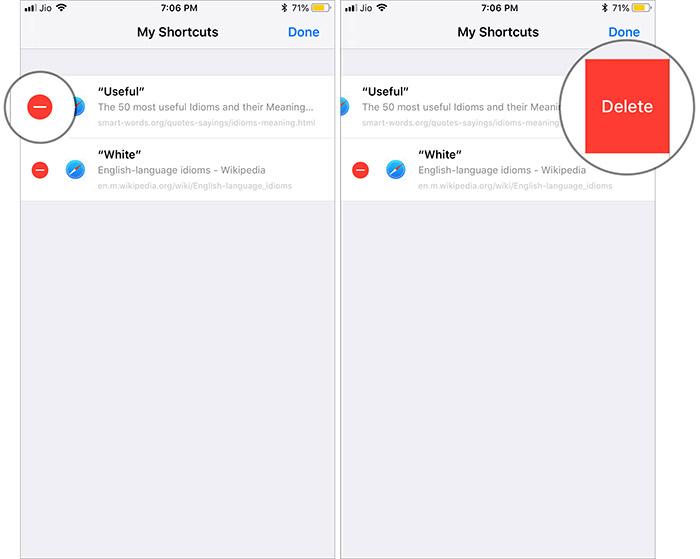 Delete Siri Shortcuts in iOS 12