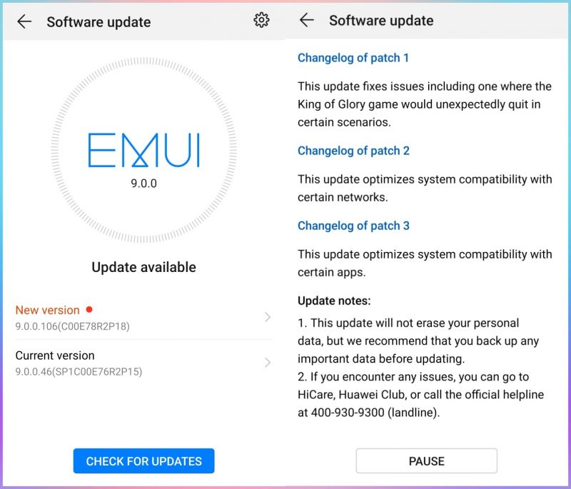 Huawei Mate 10 Pro Android 9 Pie Update Changelog