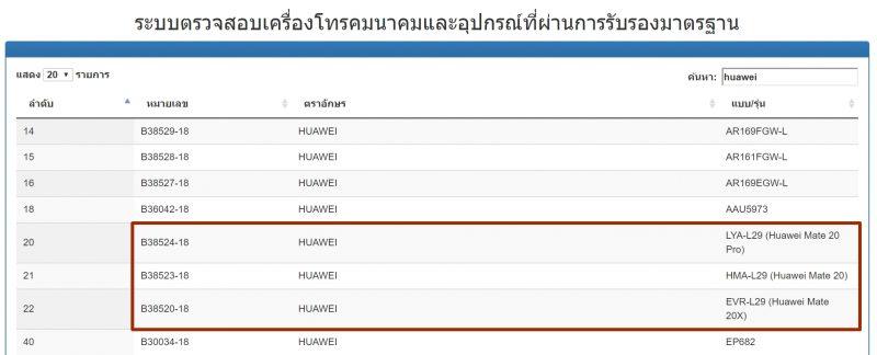 Huawei Mate 20 Series กสทช