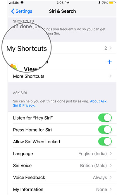 Tap on My Shortcuts in Siri Search in iOS 12
