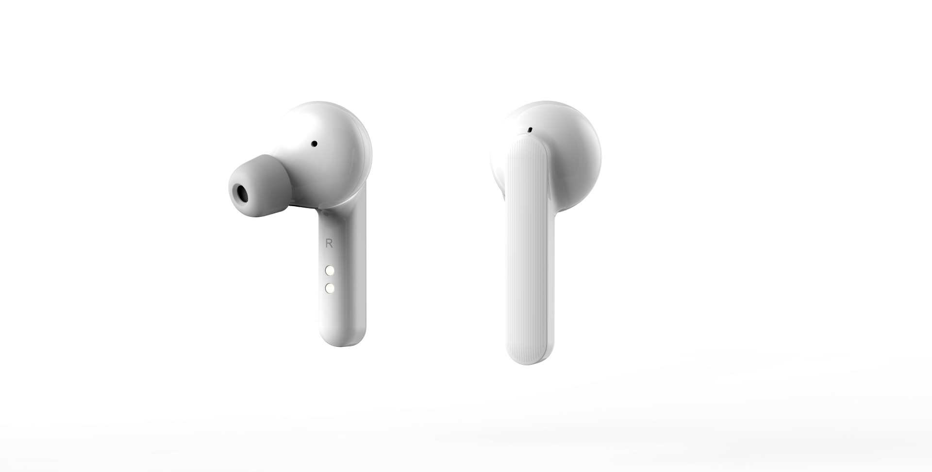 White TicPods – Right Forward Facing (Large)