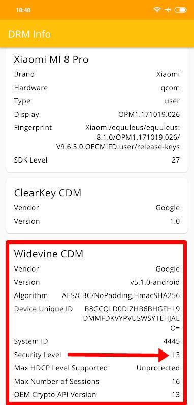 Xiaomi Mi 8 Pro Widevine L3