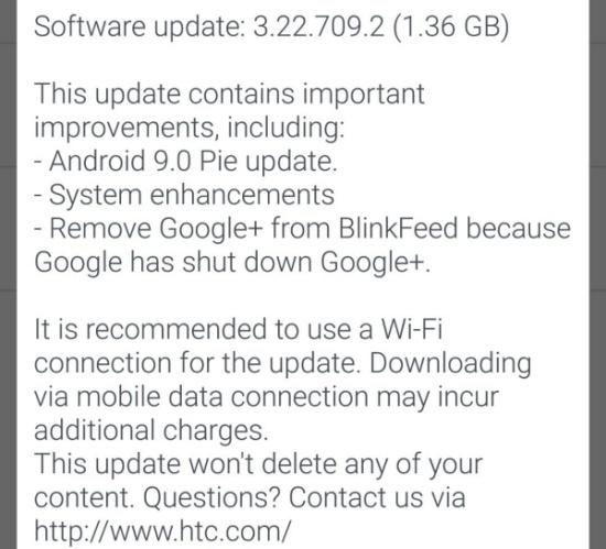 HTC U11 Android Pie Update