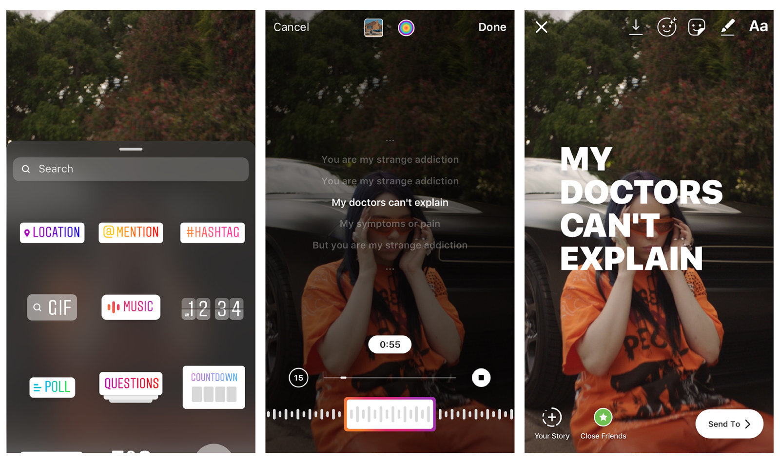 Instagram add song lyrics to your Stories