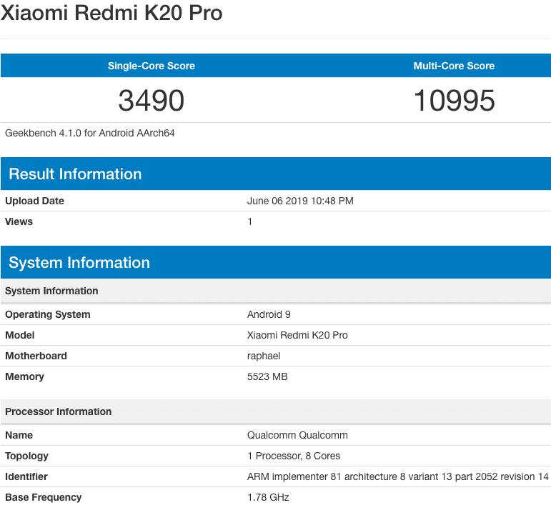 K20-Pro-Geekbench
