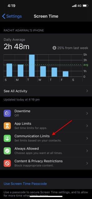 Screen Time iOS 13