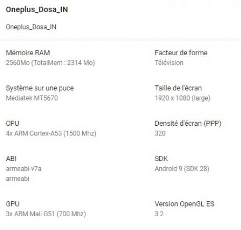 OnePlus TV Spec