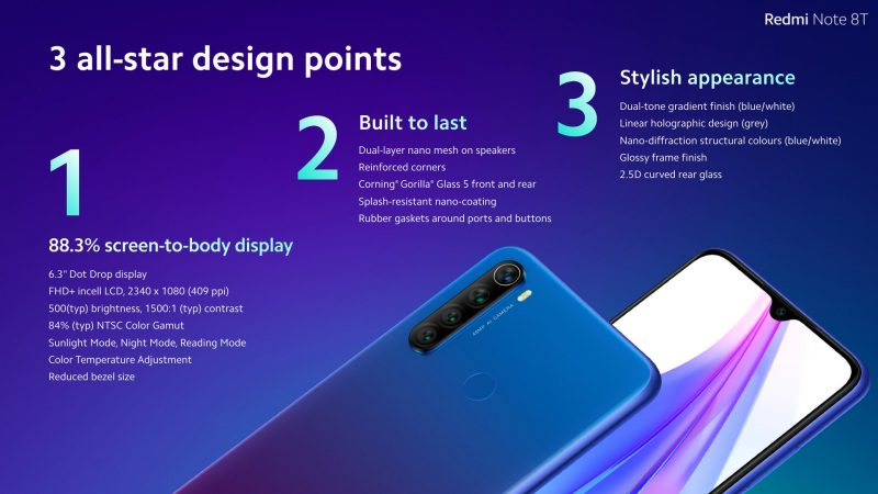 Xiaomi Redmi Note 8T Design